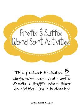 Prefix & Suffix Word Sort Cut & Paste for Grades 2, 3, 4 {Literacy Station}