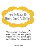 Prefix & Suffix Word Sort Cut & Paste for Grades 2, 3, 4 {