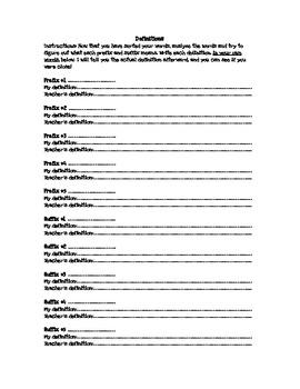 Prefix and Suffix Word Sort Worksheet 1