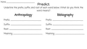 Prefix and Suffix Study Guides and Word Wall