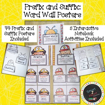 Prefix and Suffix Word Wall Posters with Interactive Notebook Activities