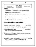 Prefix and Suffix Words a Week