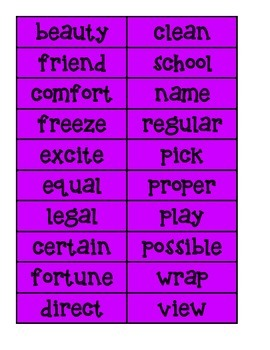 Prefix and suffix cards and worksheets
