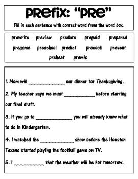 Prefix 'pre' matching and worksheets and quiz
