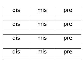 Prefix: pre, mis, dis