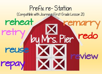 Prefix re- Station (Compatible with Journeys First Grade Lesson 21)