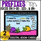 Prefix re-, dis-, & un- Digital Boom Cards
