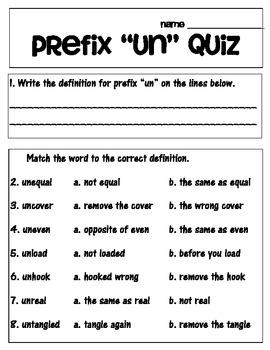 "Prefix ""un"" matching and recording sheet, worksheets, and quiz!"
