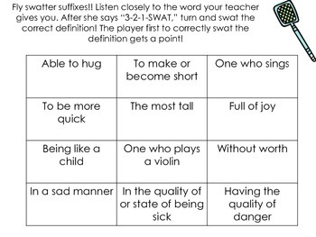 Prefix/Suffix Fly Swatter Game