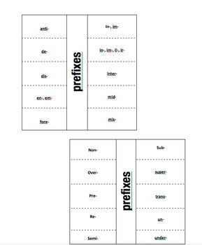 Prefix.Suffix Foldable