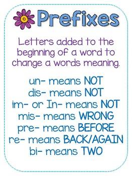 Prefix Suffix Posters {Freebie}