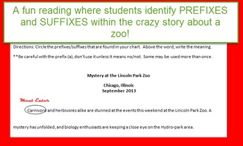Prefix/Suffix Reading (identify root words in a funny article)
