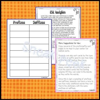 Prefix/Suffix Sorts and Literacy Center Ideas