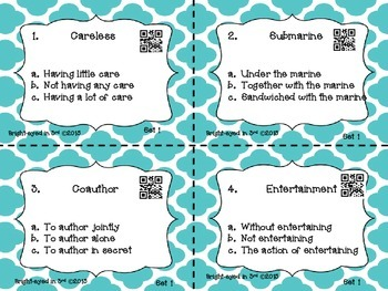 Prefix/Suffix Task Cards with QR Codes