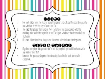 Prefixes and Suffixes Twister: Grammar Game, End of the Year Activity