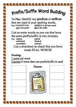 Prefix/Suffix Word Building Game