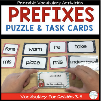Prefixes: Puzzles, Task Cards, and Activities