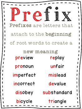 Prefixes Clip It Activity