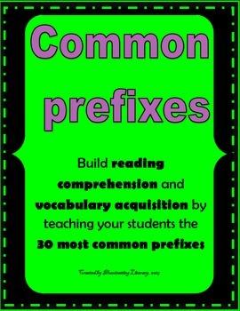 Prefixes - 30 Most Common Prefixes - Bellringers, Exit Tic