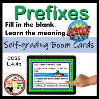 Prefixes - BOOM Cards (32 MC Self-checking Cards) Great Vocabulary Practice!