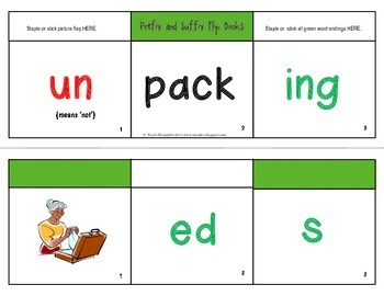 Prefixes, Base Words and Suffixes Resource Pack- Flip Books and More!