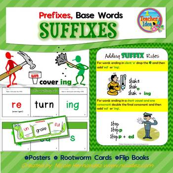Prefixes, Base Words and Suffixes Resource Pack- Flip Book