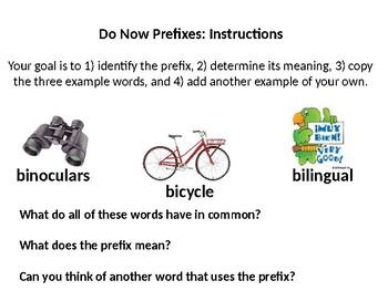 Prefixes, Bases, Suffixes Do Now