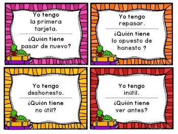 Prefixes - Bilingual I Have...Who Has..? Game
