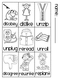 Prefixes re- un- dis- Sorting Fun Book