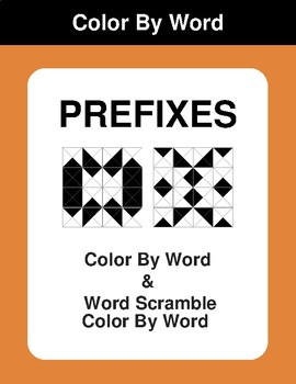 Prefixes - Color By Word & Color By Word Scramble Worksheets