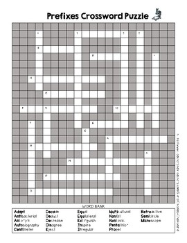Prefixes Crossword Puzzle