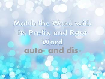 Prefixes Dis and Auto Task Cards