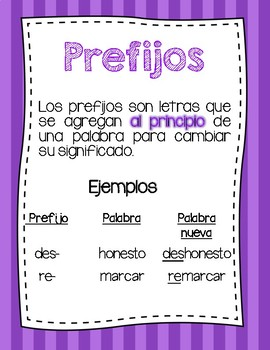 Prefixes Foldable and Independent Activity (FREEBIE) Spanish