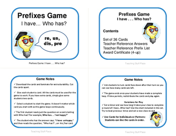 PREFIXES | TASK CARDS | Practice | I Have, Who Has? | REVIEW | CORE Gr. 3-4-5