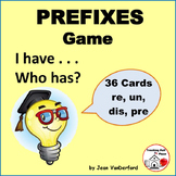 PREFIXES TASK CARDS Practice ... I Have, Who Has? ... REVIEW  CORE Gr. 3-4-5