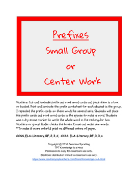 Prefixes Group Activity