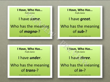 Prefixes - I Have, Who Has Cards