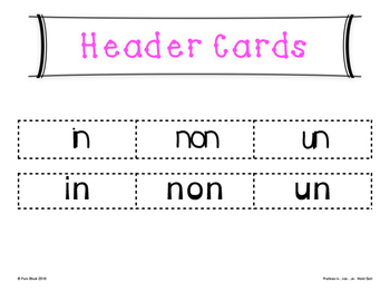 Prefixes In-, Non-, Un- Word Sort {Differentiated} + Seat work