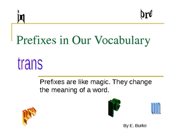 Prefixes In Our Vocabulary