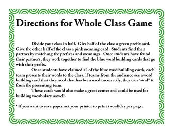 Prefixes Match Game