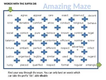 Prefixes Secret Maze Game KS2 and KS3