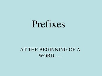 Prefixes Powerpoint Presentation