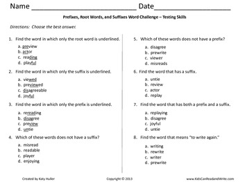 Prefixes, Root Words, and Suffixes Word Challenge