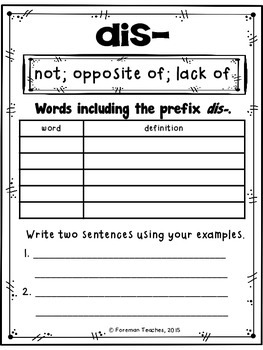 Prefixes - Student Book, Match, Word Cards