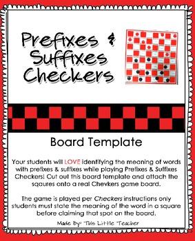 Prefixes & Suffixes Checkers Board Template {Free Download} | TpT