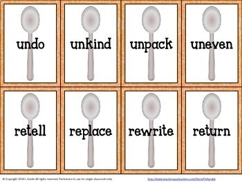Prefixes and Suffixes Game - Spoons