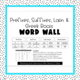 Prefixes, Suffixes, Latin and Greek Roots Word Wall