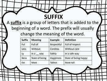Prefixes & Suffixes Literacy Center Activity