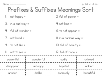Prefixes & Suffixes Meanings Sort (-ly, -ful, un- & dis-)