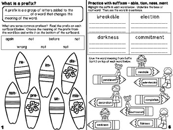 Prefixes & Suffixes Mini Book